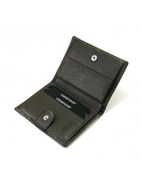 Mini cartera monedero para hombre de piel marron