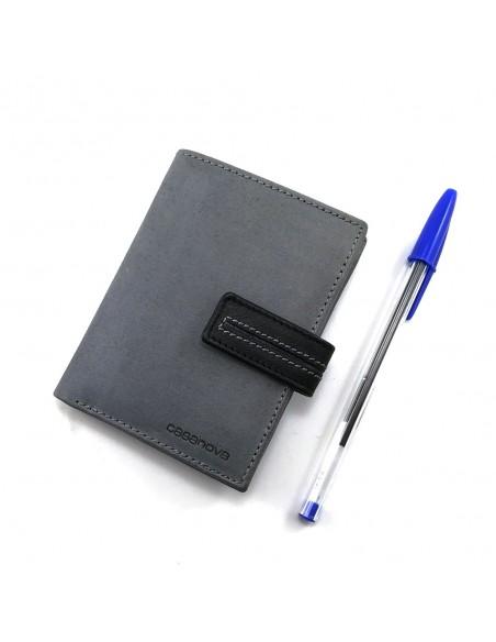 Cartera con monedero exterior para hombre con correa nº 15566 color gris